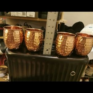 brass beer cup set suit lot 4 pieces nicecondition